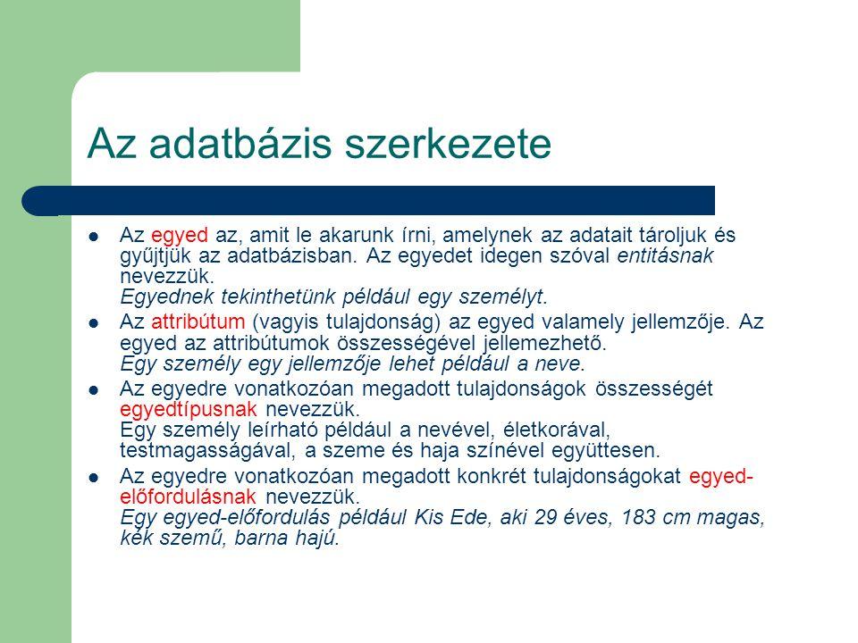 Az adatbázis szerkezete
