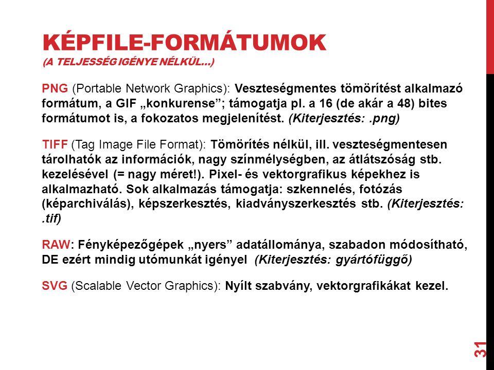 Képfile-formátumok (a teljesség igénye nélkül…)