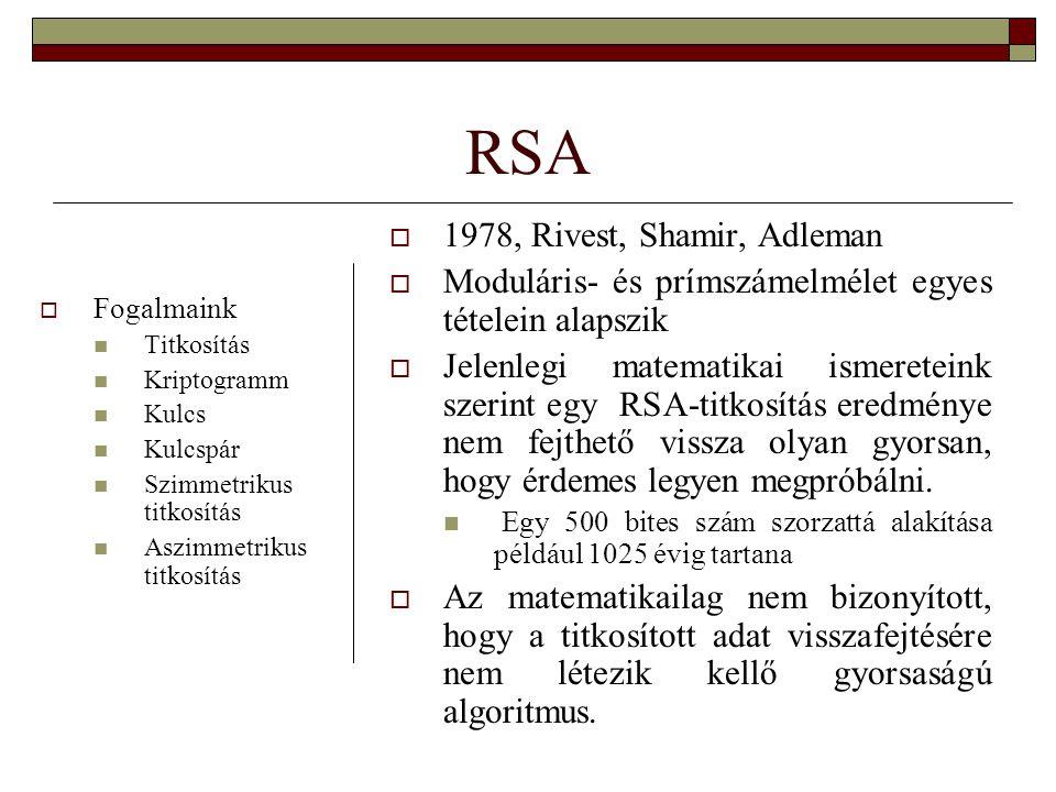 RSA 1978, Rivest, Shamir, Adleman