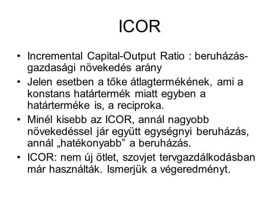 ICOR Incremental Capital-Output Ratio : beruházás-gazdasági növekedés arány.