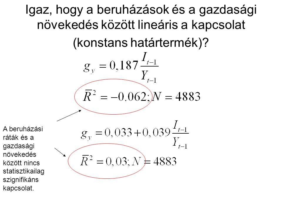Igaz, hogy a beruházások és a gazdasági növekedés között lineáris a kapcsolat (konstans határtermék)
