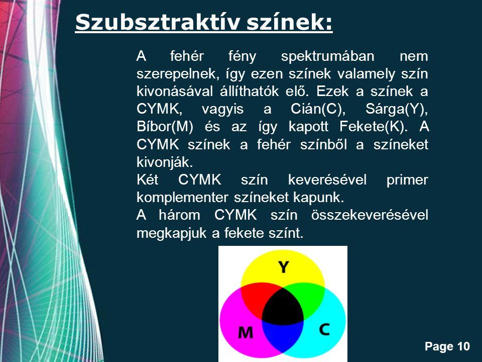 Szubsztraktív színek: