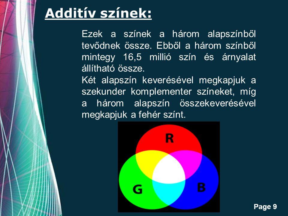Additív színek: Ezek a színek a három alapszínből tevődnek össze. Ebből a három színből mintegy 16,5 millió szín és árnyalat állítható össze.