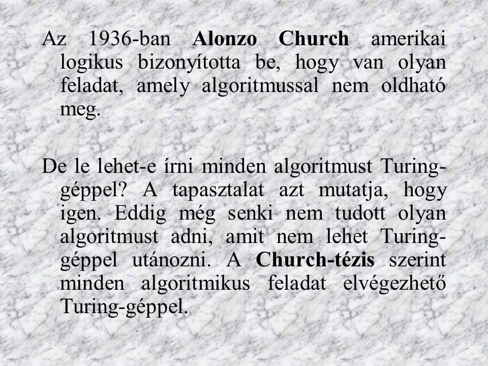 Az 1936-ban Alonzo Church amerikai logikus bizonyította be, hogy van olyan feladat, amely algoritmussal nem oldható meg.