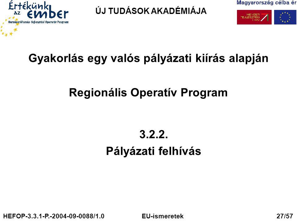 ÚJ TUDÁSOK AKADÉMIÁJA Gyakorlás egy valós pályázati kiírás alapján Regionális Operatív Program. 3.2.2.