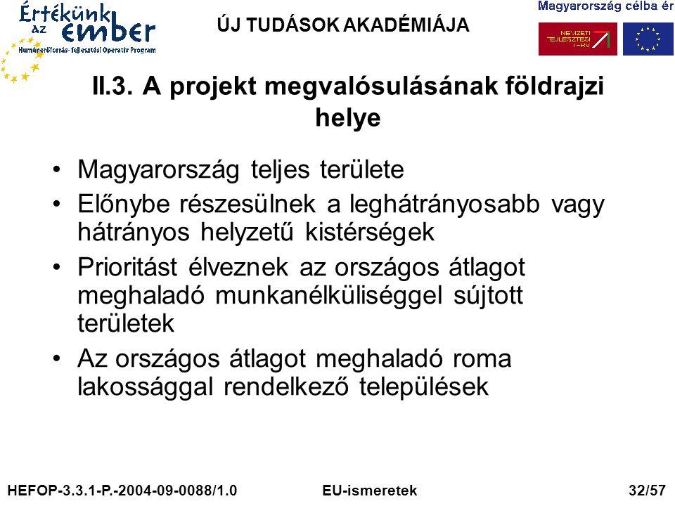 II.3. A projekt megvalósulásának földrajzi helye