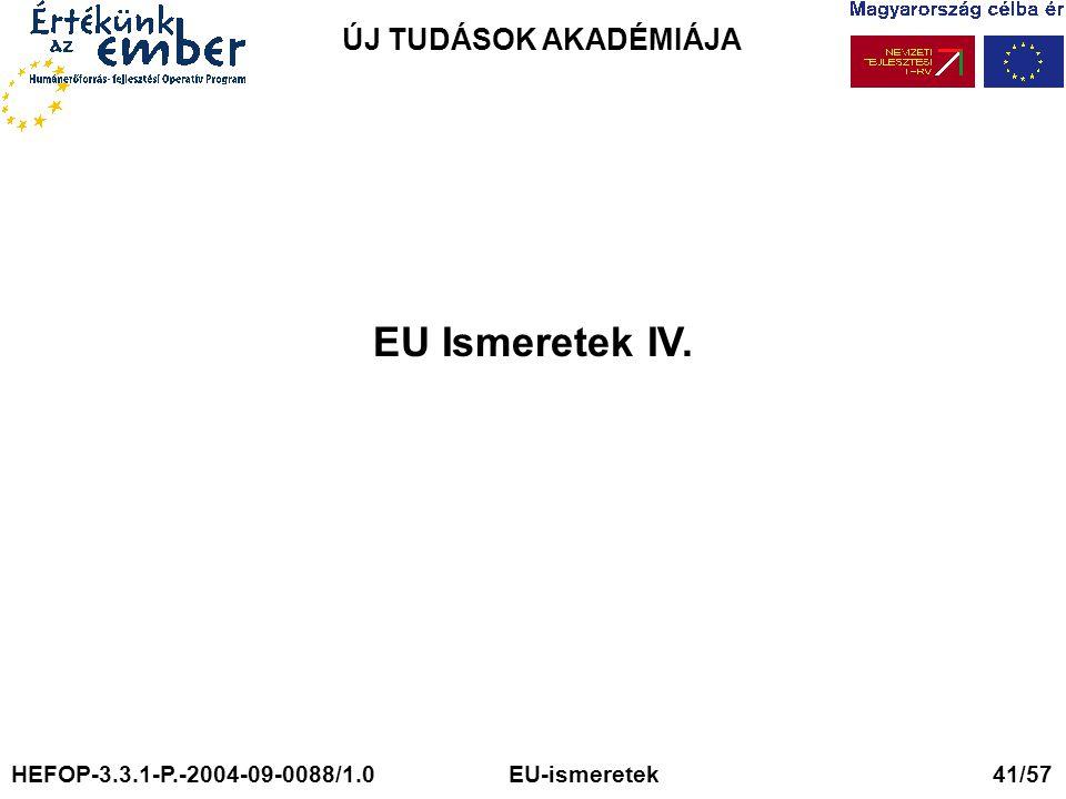 EU Ismeretek IV. ÚJ TUDÁSOK AKADÉMIÁJA