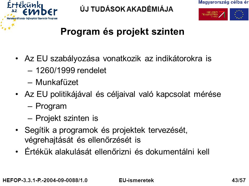 Program és projekt szinten