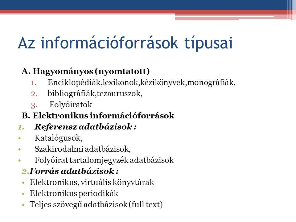 Az információforrások típusai