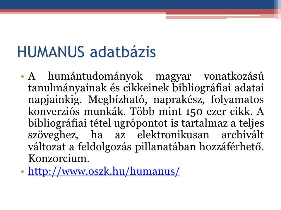 HUMANUS adatbázis