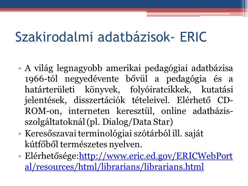 Szakirodalmi adatbázisok- ERIC