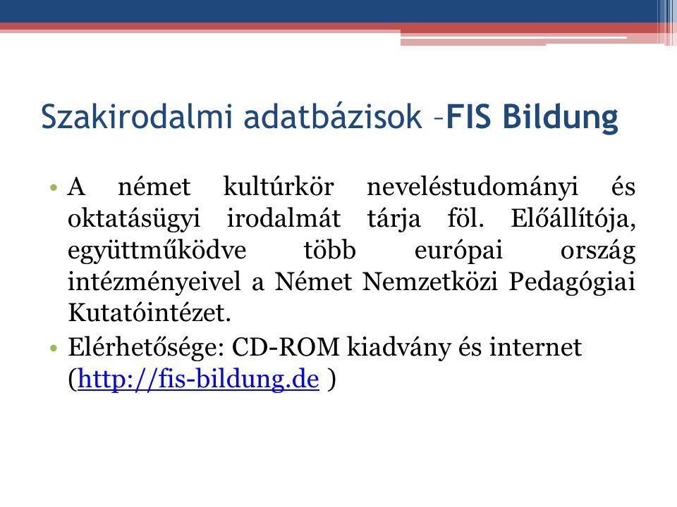 Szakirodalmi adatbázisok –FIS Bildung