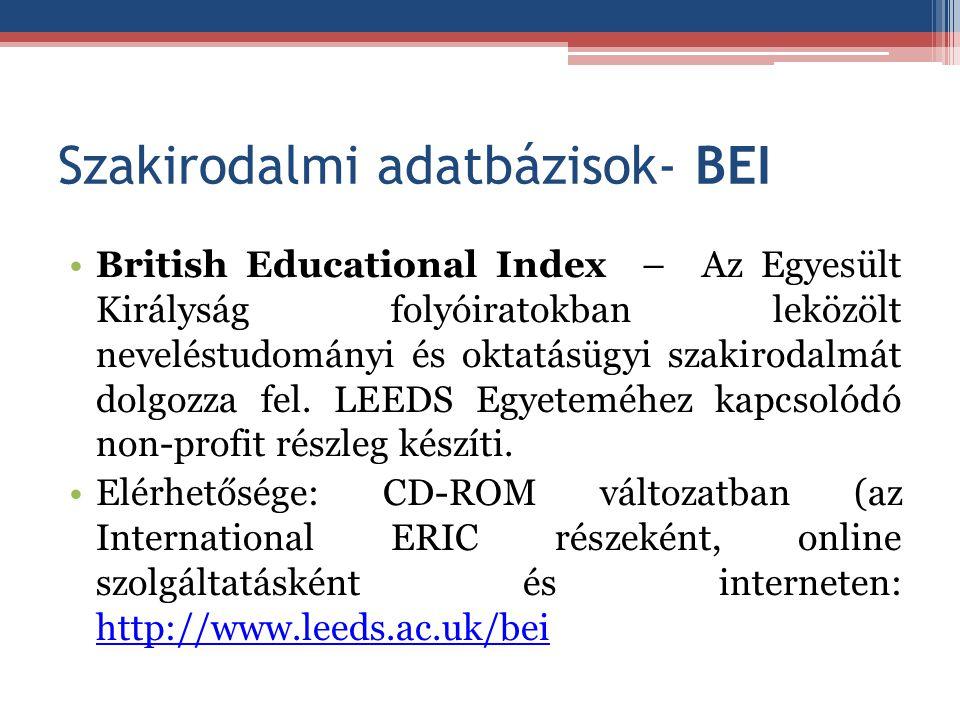 Szakirodalmi adatbázisok- BEI