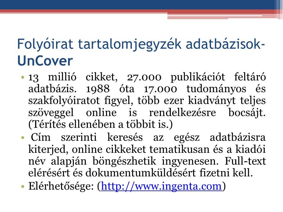 Folyóirat tartalomjegyzék adatbázisok- UnCover