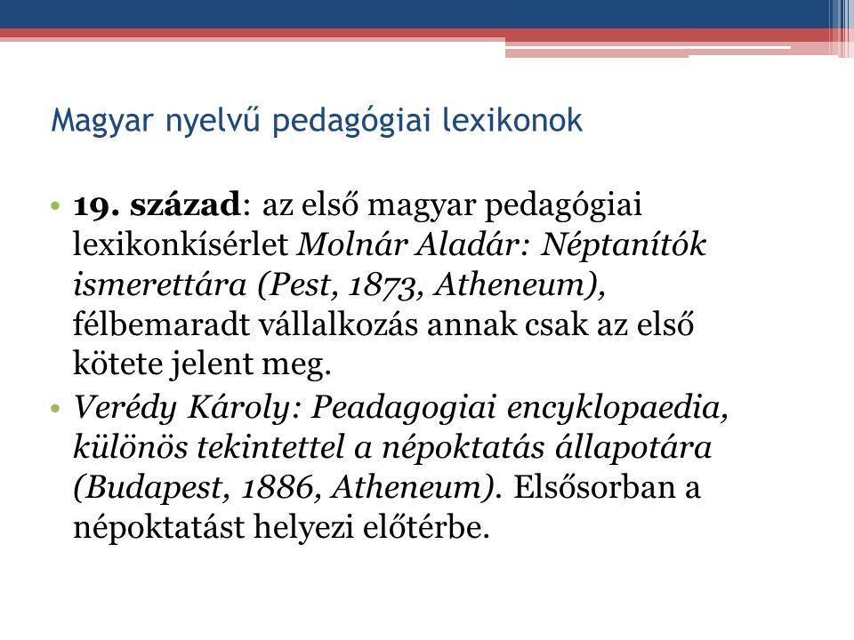 Magyar nyelvű pedagógiai lexikonok