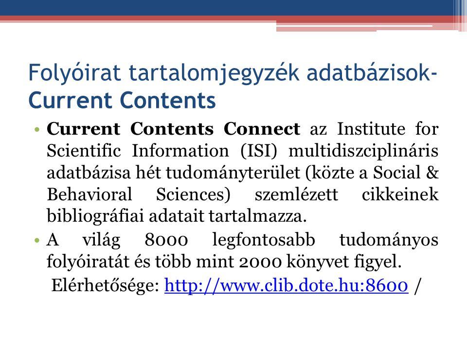 Folyóirat tartalomjegyzék adatbázisok- Current Contents
