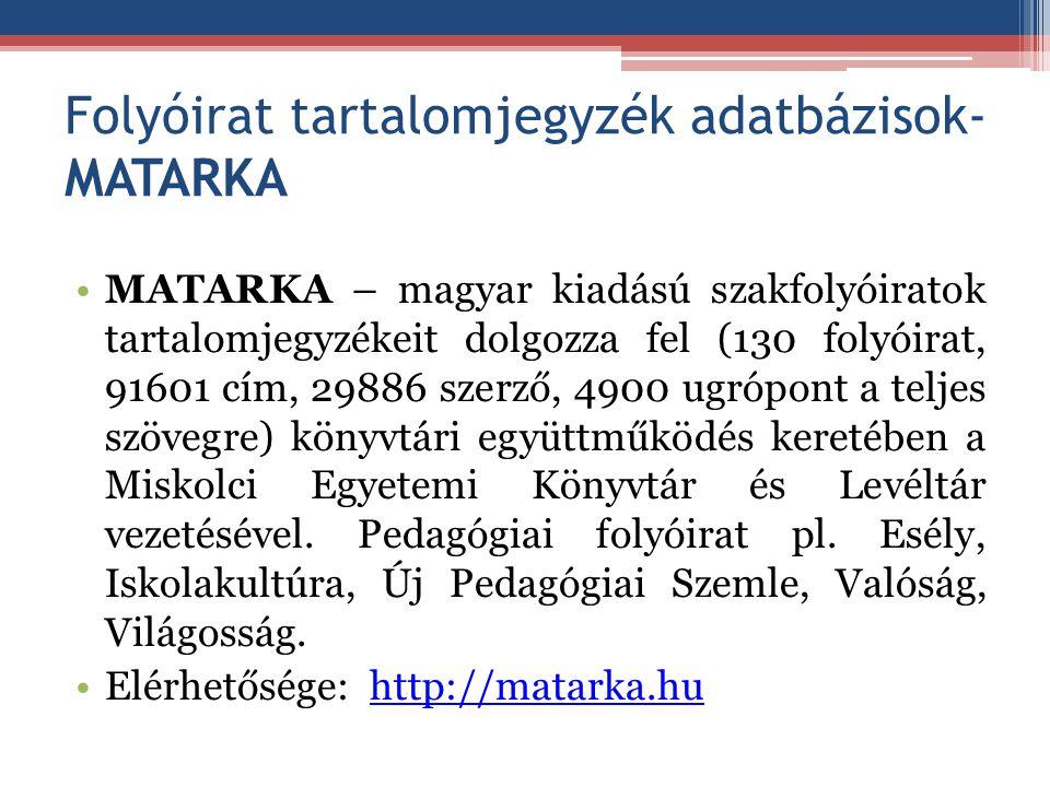 Folyóirat tartalomjegyzék adatbázisok-MATARKA