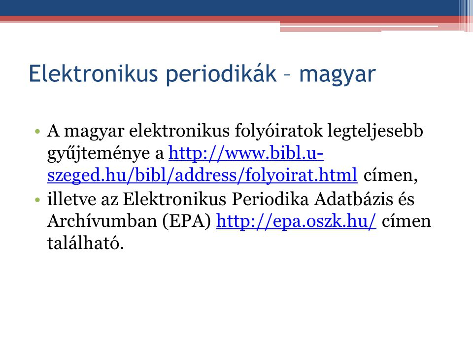 Elektronikus periodikák – magyar