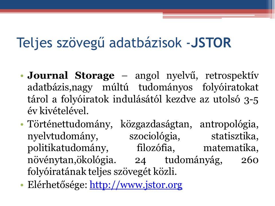 Teljes szövegű adatbázisok -JSTOR