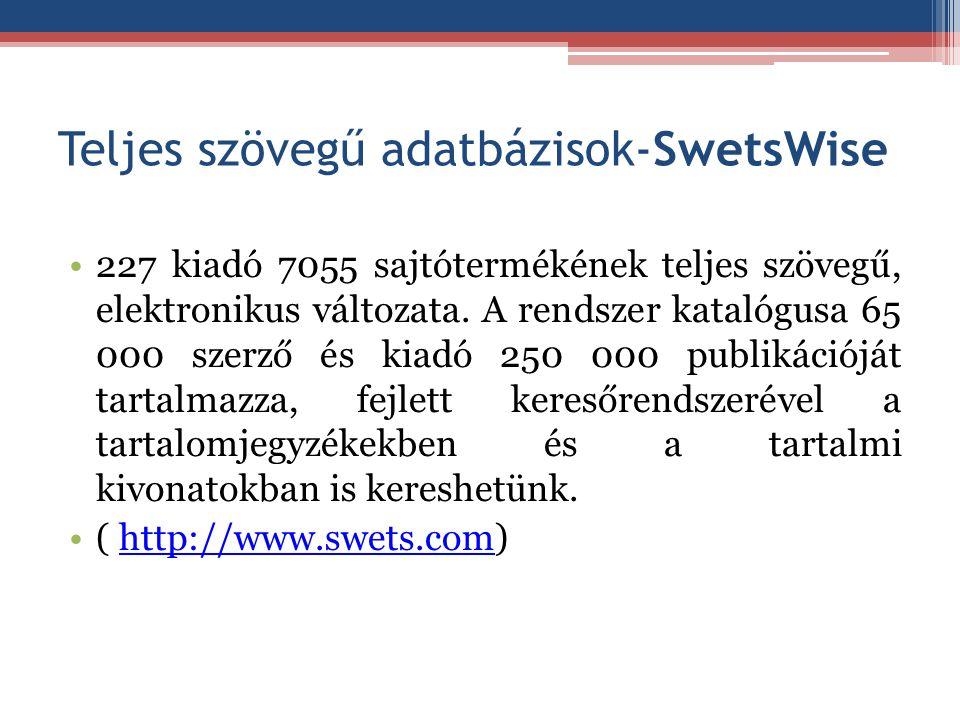 Teljes szövegű adatbázisok-SwetsWise