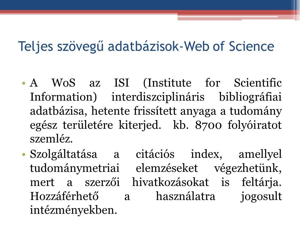Teljes szövegű adatbázisok-Web of Science