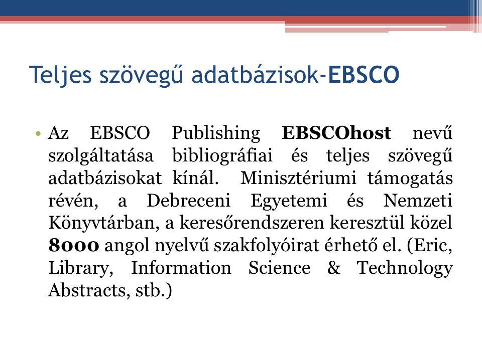 Teljes szövegű adatbázisok-EBSCO