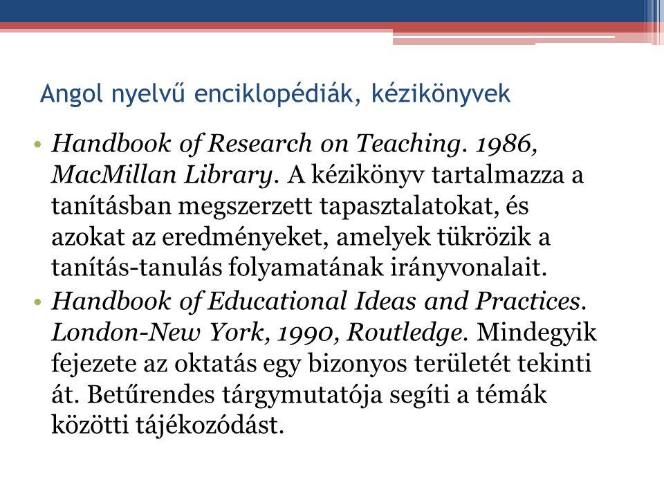 Angol nyelvű enciklopédiák, kézikönyvek