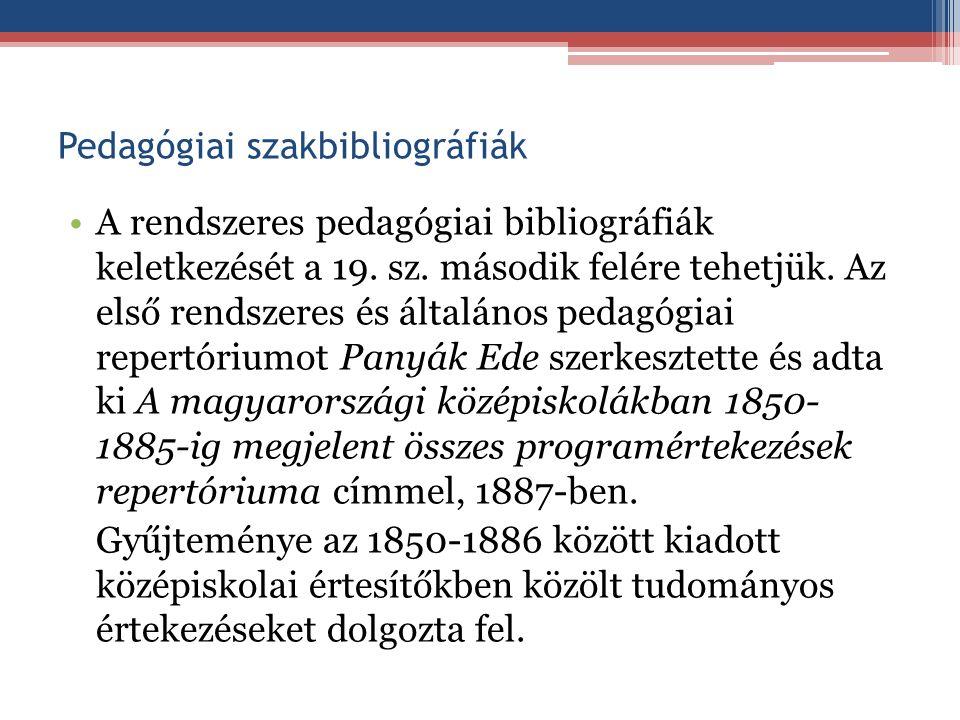 Pedagógiai szakbibliográfiák