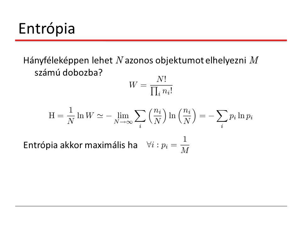 Entrópia Hányféleképpen lehet N azonos objektumot elhelyezni M számú dobozba.