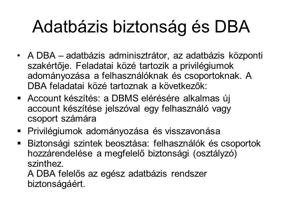 Adatbázis biztonság és DBA