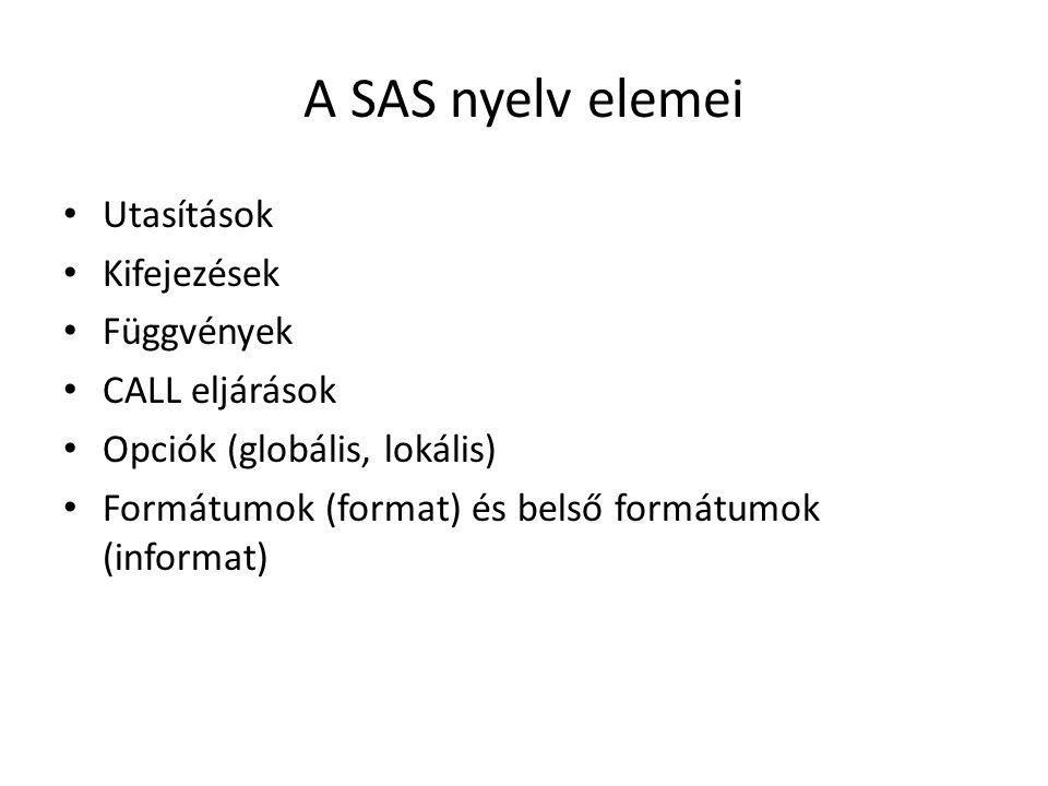A SAS nyelv elemei Utasítások Kifejezések Függvények CALL eljárások