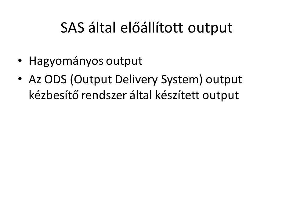 SAS által előállított output