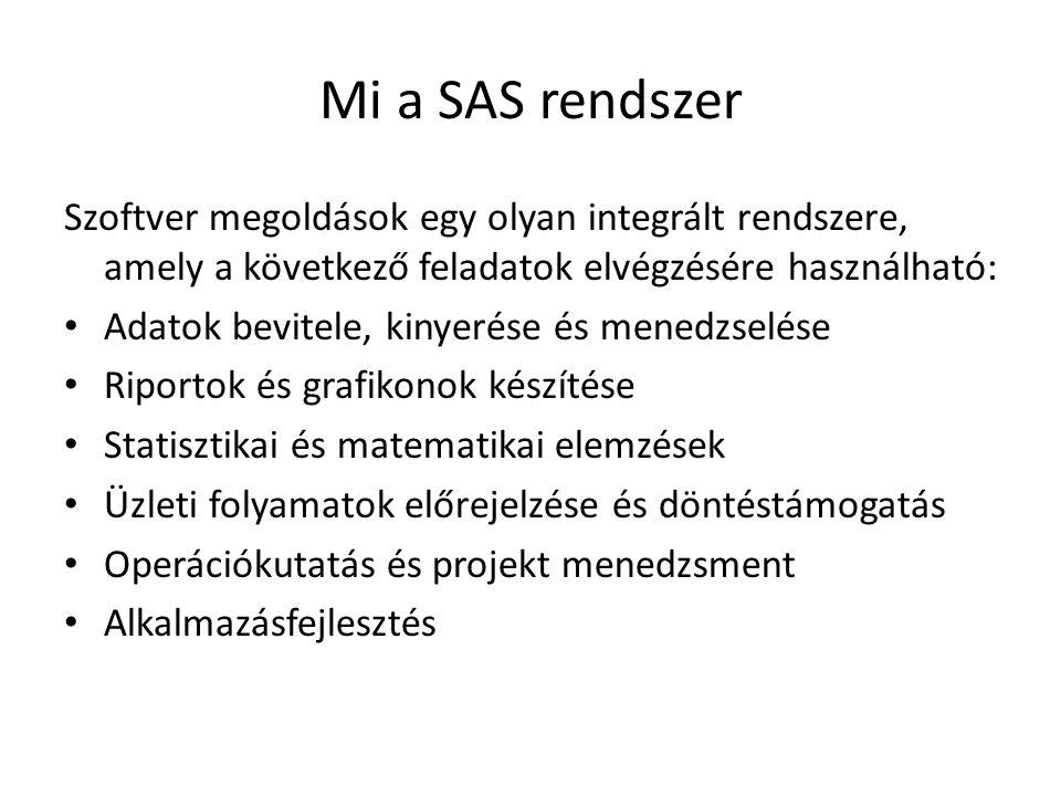 Mi a SAS rendszer Szoftver megoldások egy olyan integrált rendszere, amely a következő feladatok elvégzésére használható: