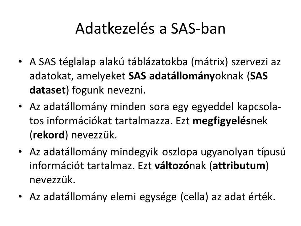 Adatkezelés a SAS-ban A SAS téglalap alakú táblázatokba (mátrix) szervezi az adatokat, amelyeket SAS adatállományoknak (SAS dataset) fogunk nevezni.