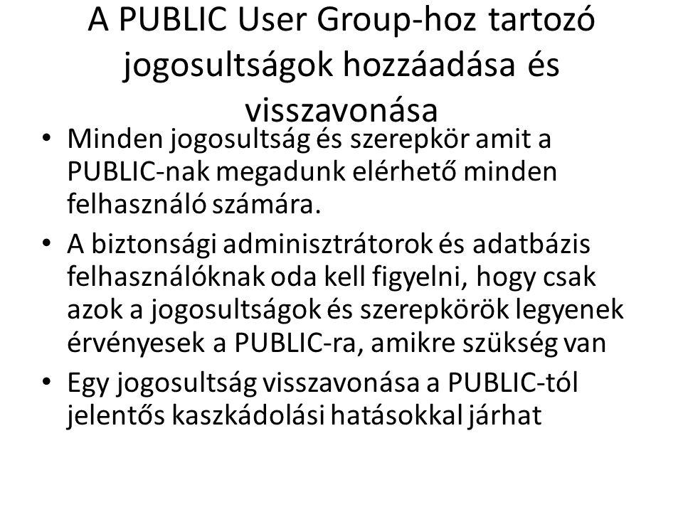 A PUBLIC User Group-hoz tartozó jogosultságok hozzáadása és visszavonása