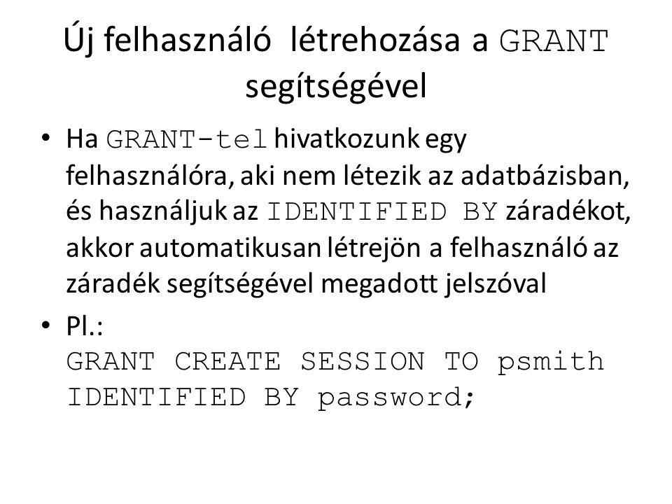 Új felhasználó létrehozása a GRANT segítségével