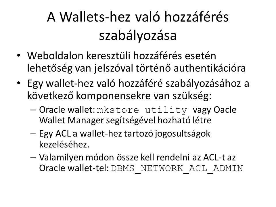 A Wallets-hez való hozzáférés szabályozása