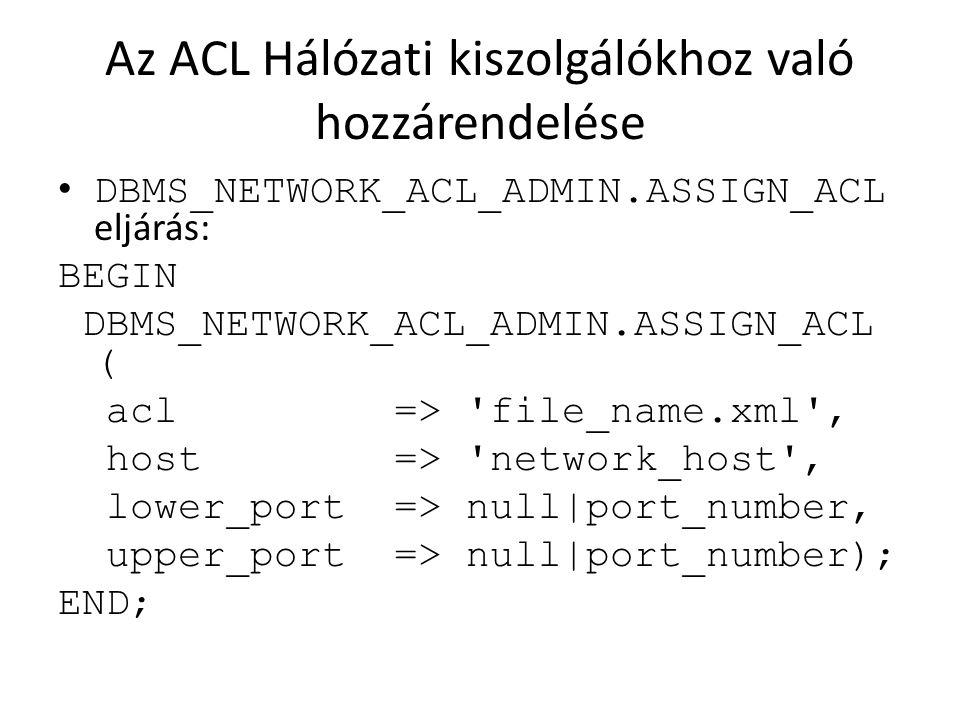 Az ACL Hálózati kiszolgálókhoz való hozzárendelése