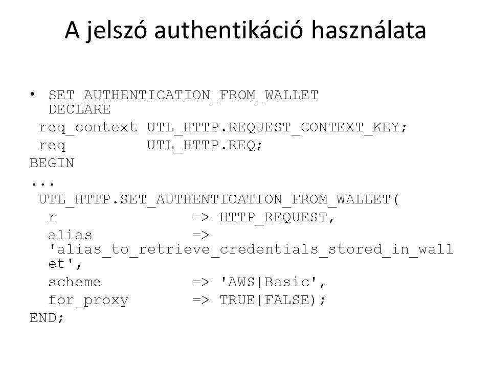 A jelszó authentikáció használata