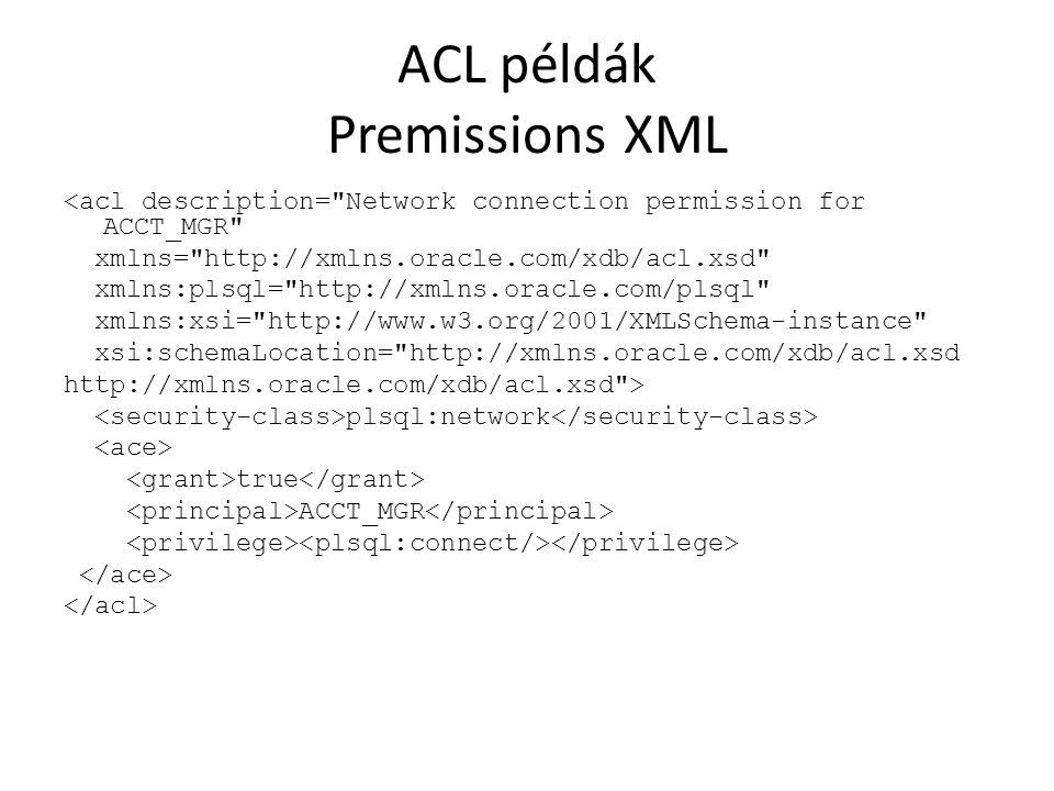 ACL példák Premissions XML