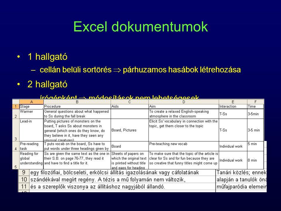 Excel dokumentumok 1 hallgató 2 hallgató fedőlap Word-ben