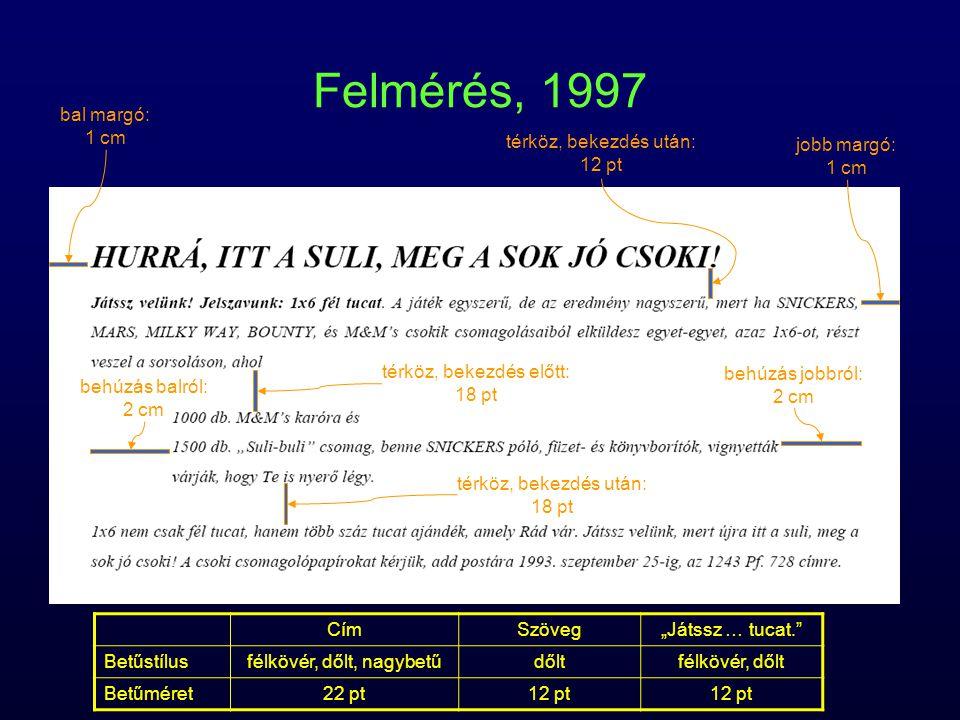 Felmérés, 1997 bal margó: 1 cm jobb margó: térköz, bekezdés után: