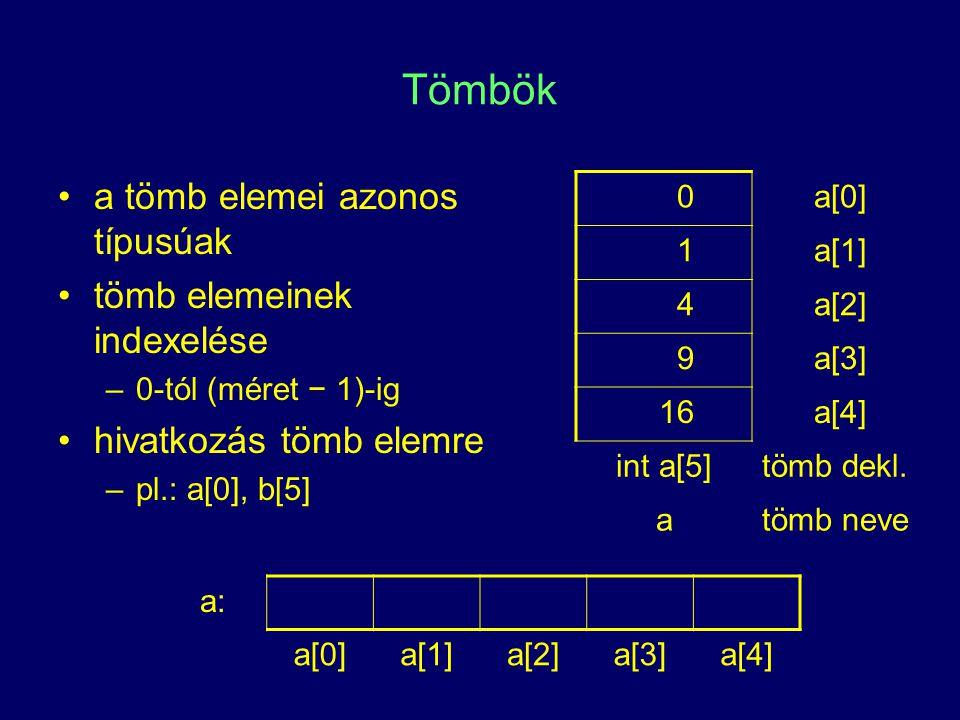 Tömbök a tömb elemei azonos típusúak tömb elemeinek indexelése