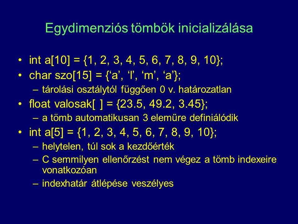 Egydimenziós tömbök inicializálása