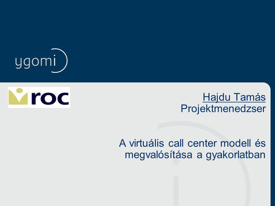 Hajdu Tamás Projektmenedzser A virtuális call center modell és megvalósítása a gyakorlatban