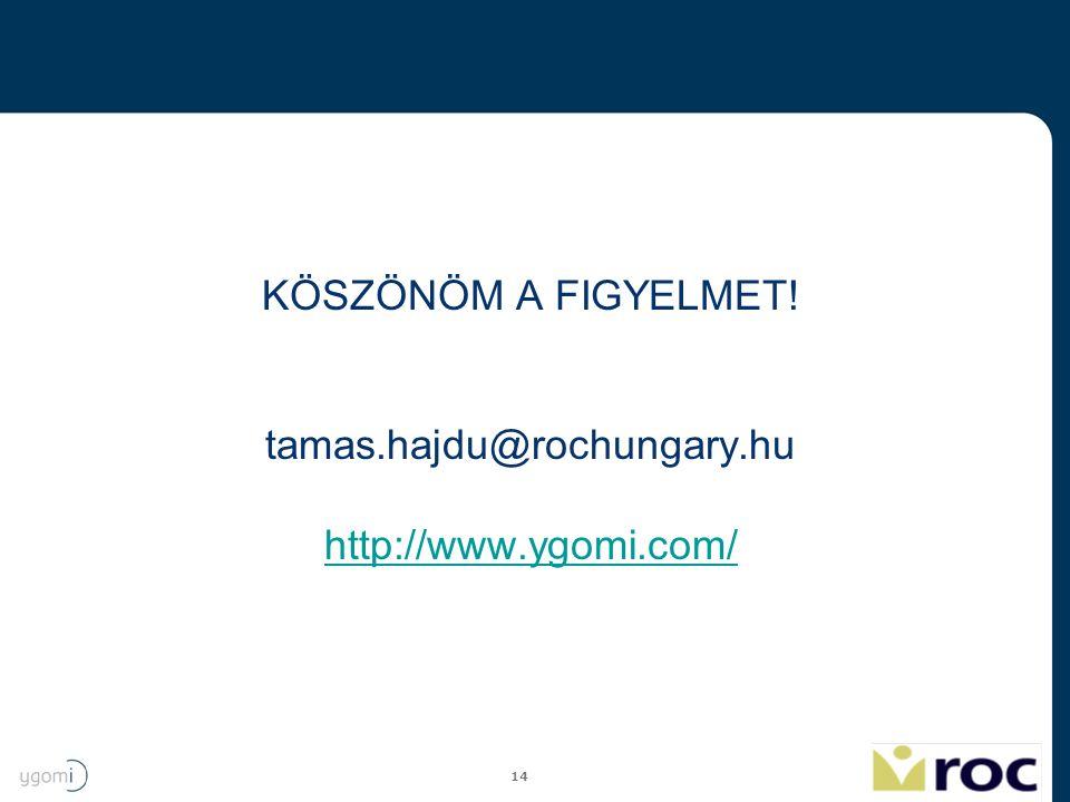 KÖSZÖNÖM A FIGYELMET! tamas.hajdu@rochungary.hu http://www.ygomi.com/