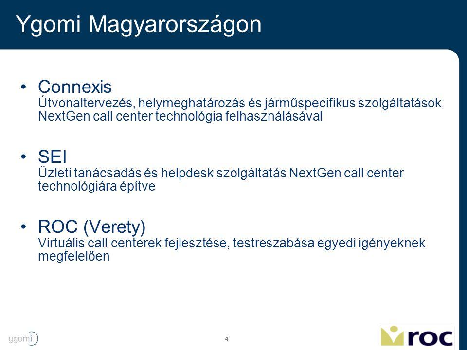 Ygomi Magyarországon Connexis Útvonaltervezés, helymeghatározás és járműspecifikus szolgáltatások NextGen call center technológia felhasználásával.