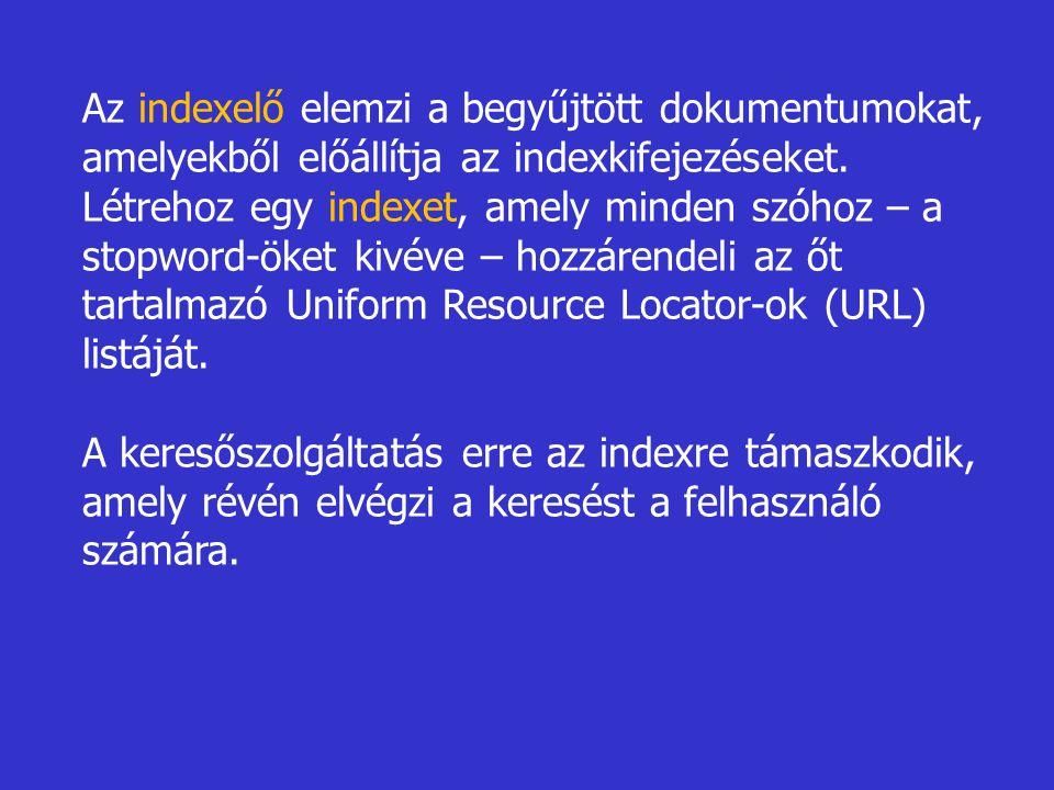 Az indexelő elemzi a begyűjtött dokumentumokat, amelyekből előállítja az indexkifejezéseket. Létrehoz egy indexet, amely minden szóhoz – a stopword-öket kivéve – hozzárendeli az őt tartalmazó Uniform Resource Locator-ok (URL) listáját.