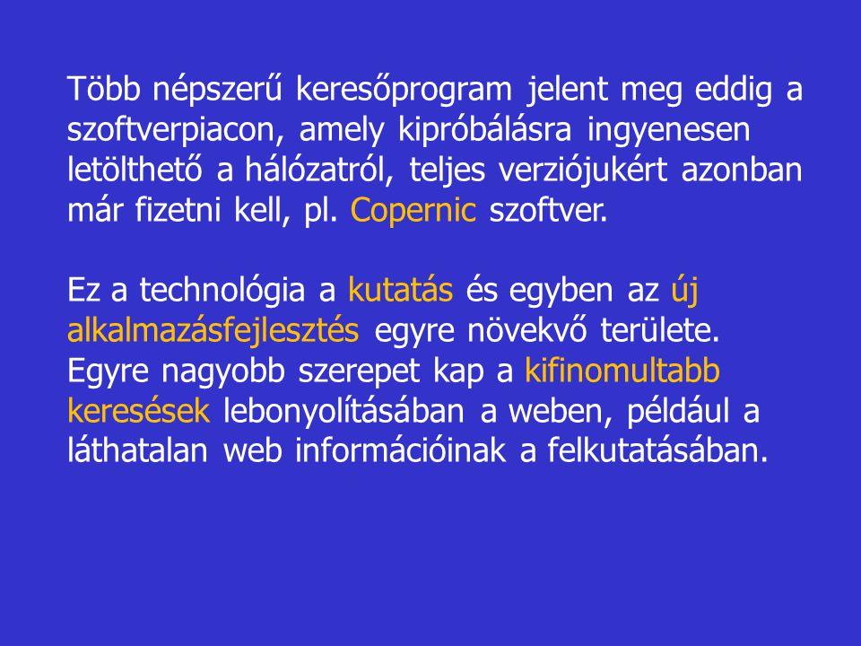 Több népszerű keresőprogram jelent meg eddig a szoftverpiacon, amely kipróbálásra ingyenesen letölthető a hálózatról, teljes verziójukért azonban már fizetni kell, pl. Copernic szoftver.