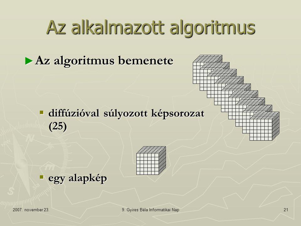 Az alkalmazott algoritmus